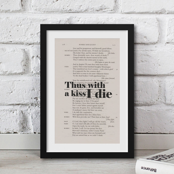 shakespeare gifts for book lovers Thus With A Kiss I Die