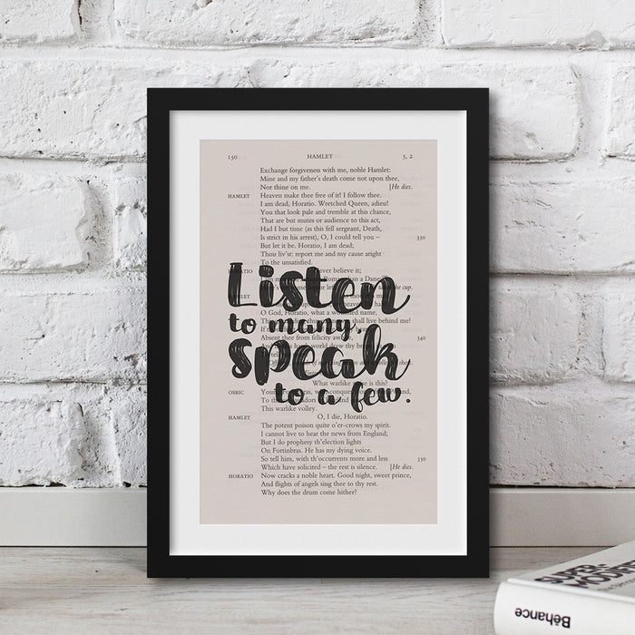 shakespeare gift ideas Listen to many, speak to a few. quote