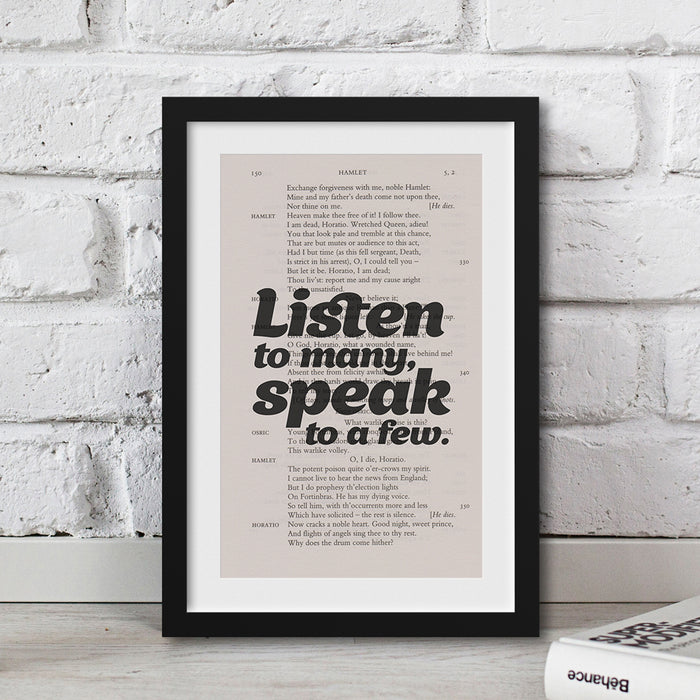 shakespeare literary gift ideas Listen to many, speak to a few.