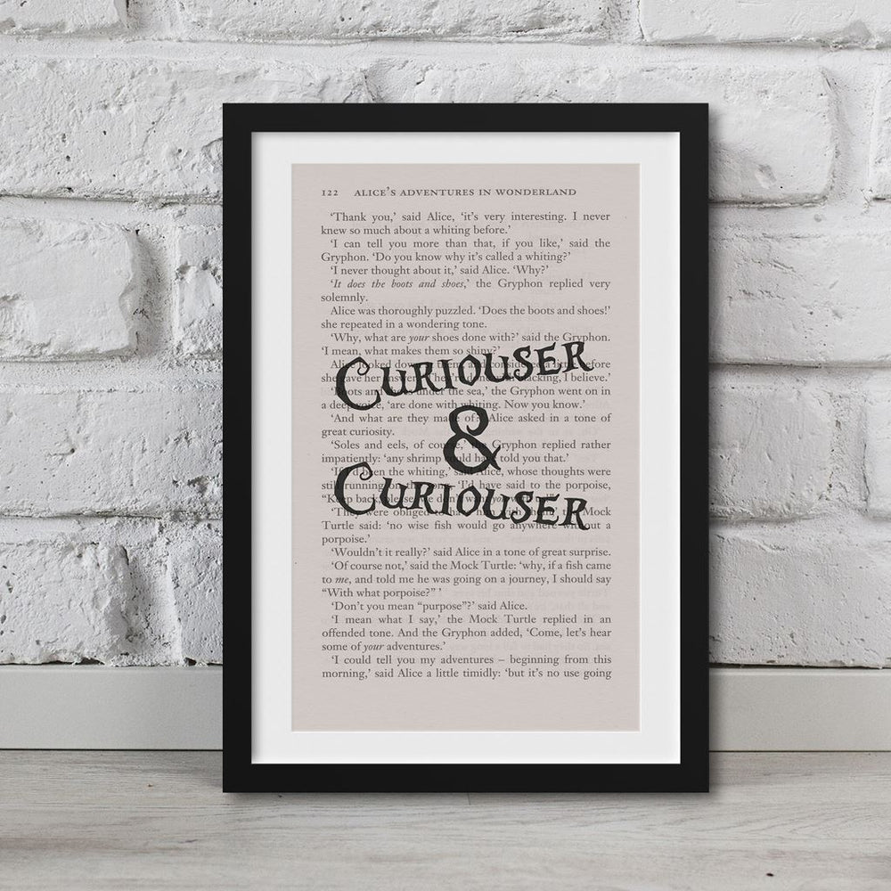 Alice In Wonderland Book Page Art Curiouser And Curiouser Print