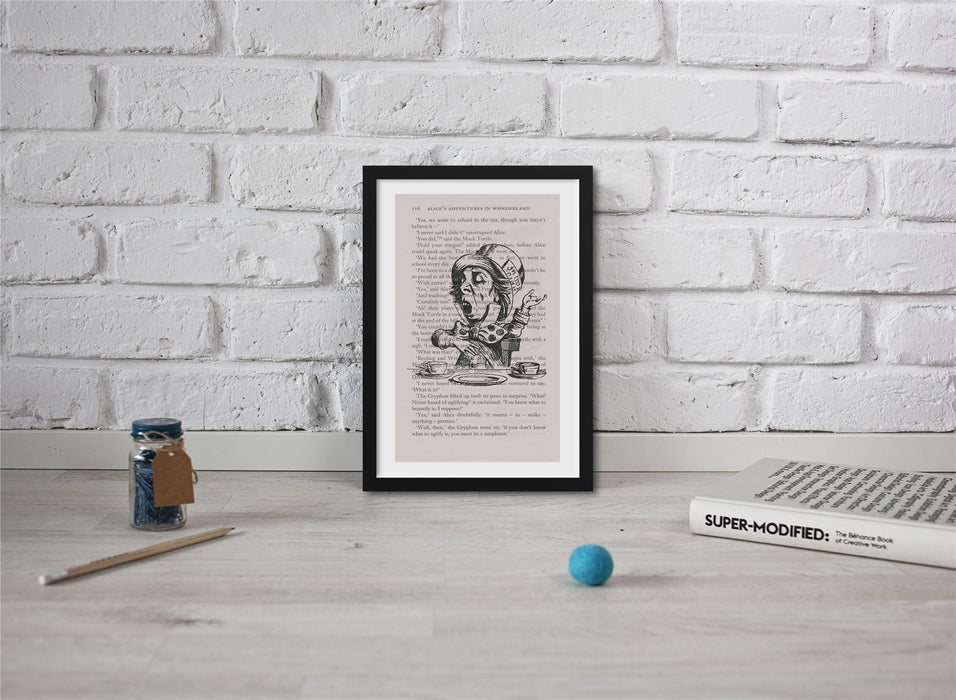 Alice In Wonderland Book Page Art Mad Hatter  Print