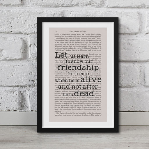 The Great Gatsby Book Page Art Let Us Learn To Show Our Friendship Print