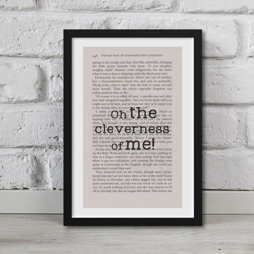 Peter Pan Book Page Art Oh, The Cleverness Of Me! Print Quote