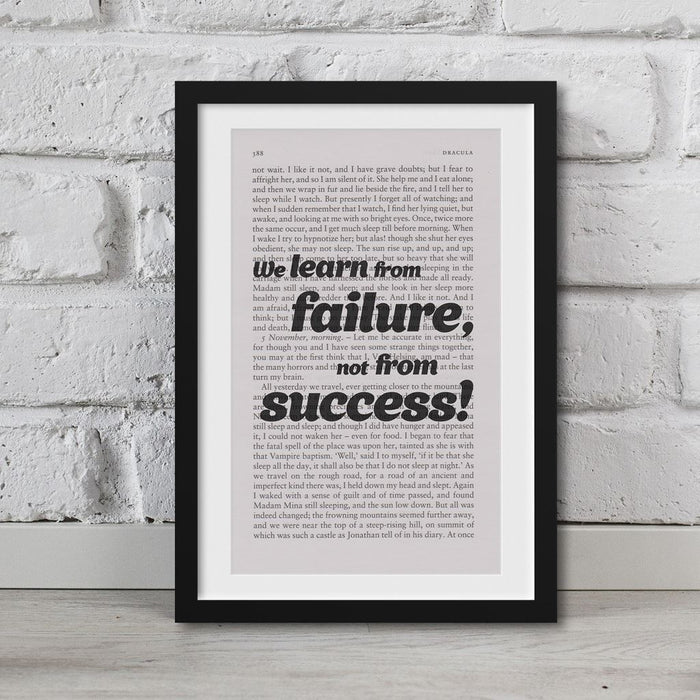 Dracula Print On Book Page We Learn From Failure, Not From Success! Print