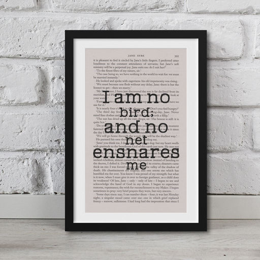 Jane Eyre Book Page Art I Am No Bird; And No Net Ensnares Me Print