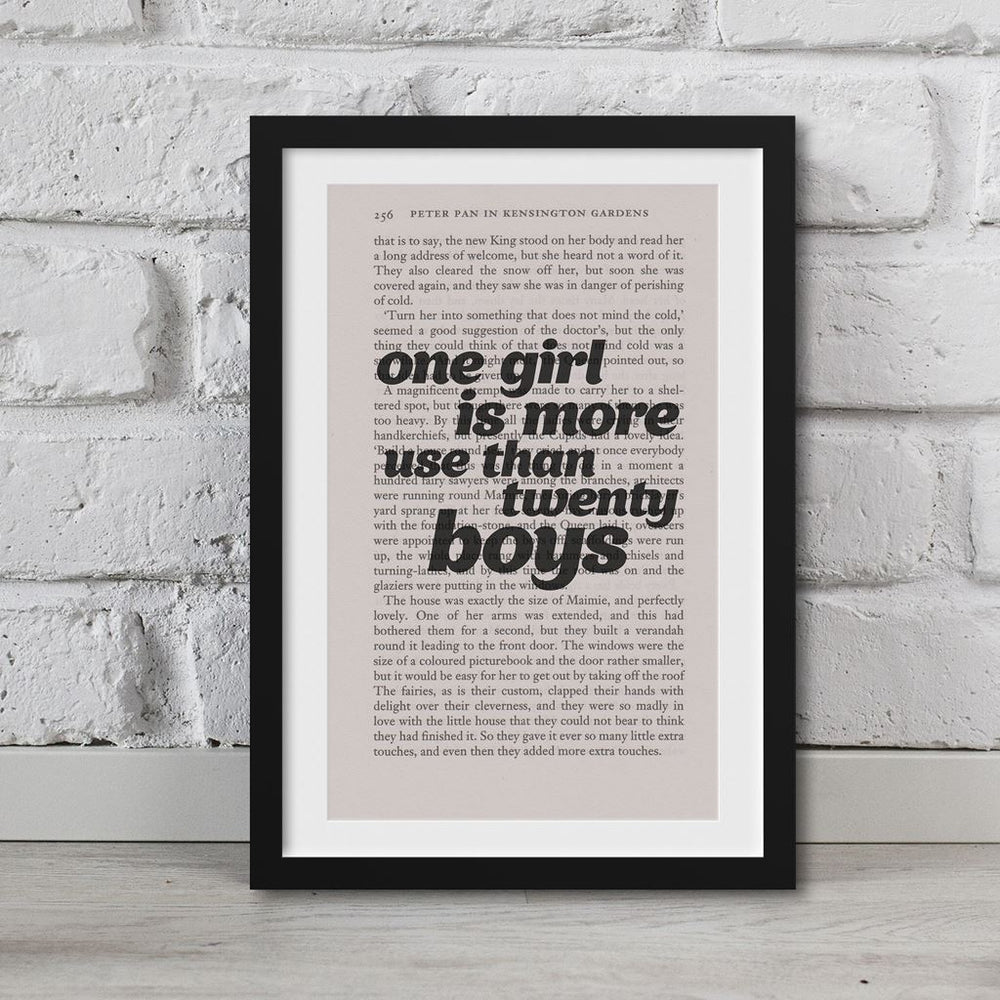 Peter Pan Book Page Art One Girl Is More Use Than Twenty Boys Print