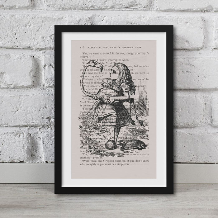 Alice In Wonderland Book Page Art Alice And Flamingo Print