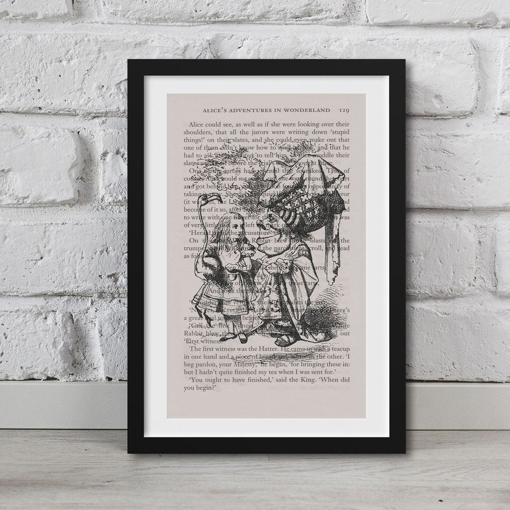 Alice In Wonderland Book Page Art Alice And Queen Of Hearts Print