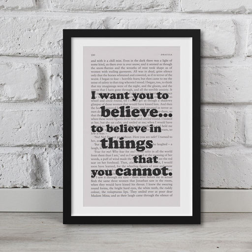 Dracula Book Page Art I Want You To Believe Print Quote