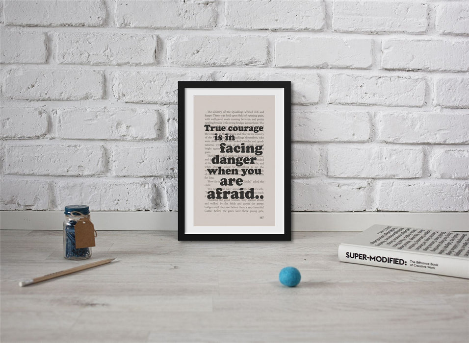 The Wonderful Wizard Of Oz Book Page Art True Courage Is In Facing Danger Print