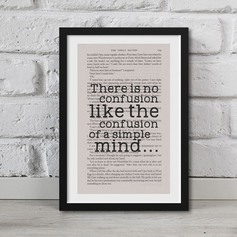 The Great Gatsby Book Page Art Confusion Of A Simple Mind€¦ Print