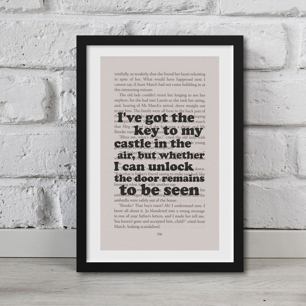 Little Women Book Page Art I've Got The Key To My Castle In The Air Print