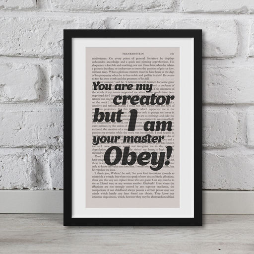Frankenstein Quotes Book Page Art You Are My Creator Print Quote