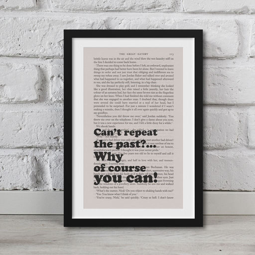 The Great Gatsby Book Page Art Can't Repeat The Past? Print Quote