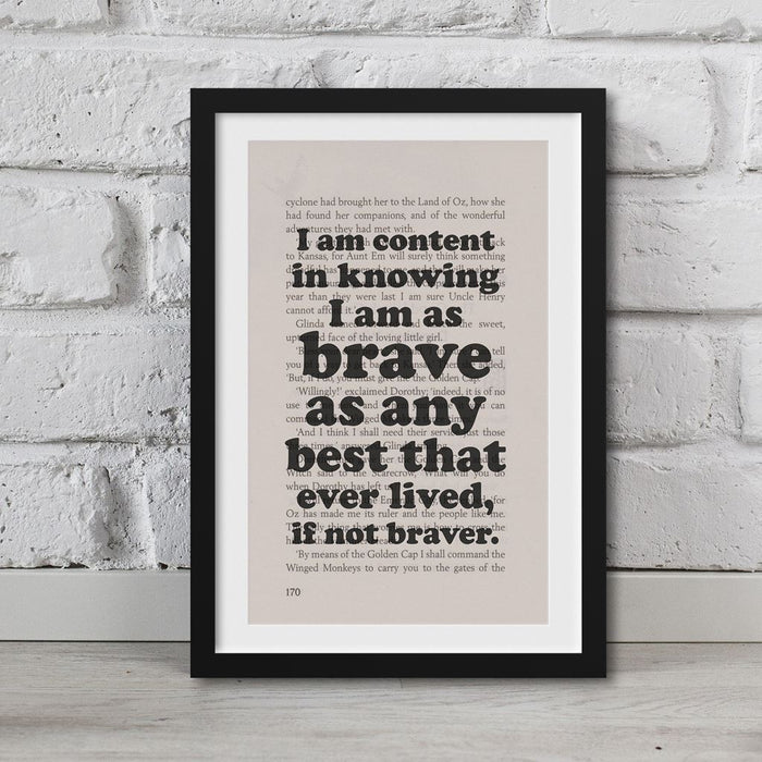 The Wonderful Wizard Of Oz Book Page Art I Am Content Print Quote