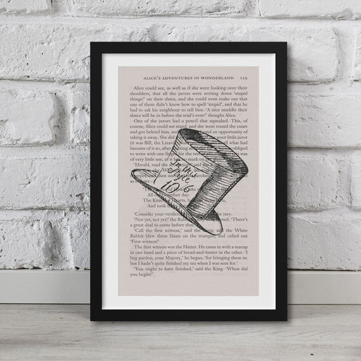 Alice In Wonderland Book Page Art Mad Hatters Hat Print