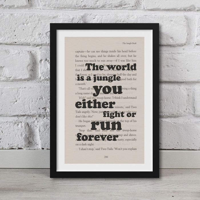 Jungle Book - Book Page Art The World Is A Jungle You Either Fight Or Run Forever