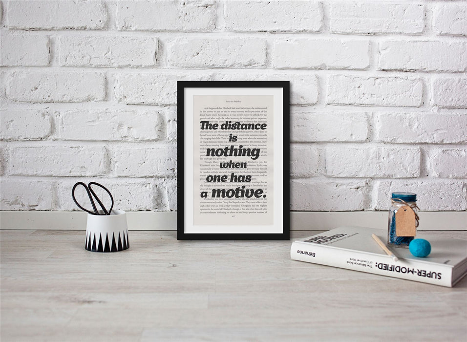 Pride And Prejudice Book Page Art The Distance Is Nothing Print
