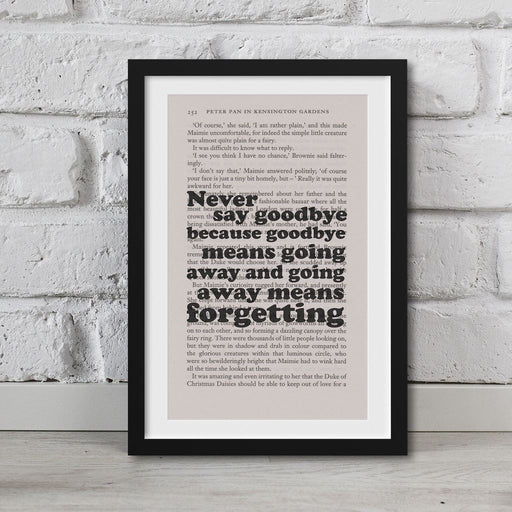 Peter Pan Book Page Art Never Say Goodbye Print Quote