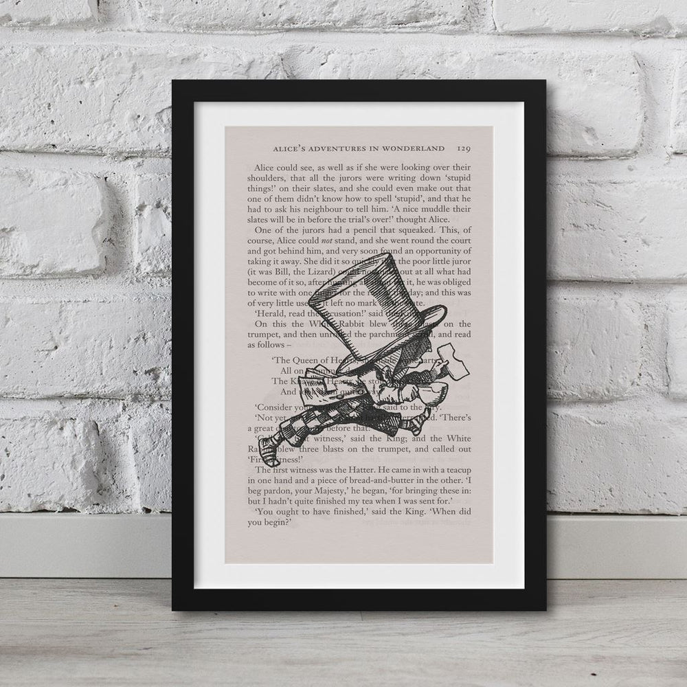 Alice In Wonderland Book Page Art Mad Hatter Running Late Print