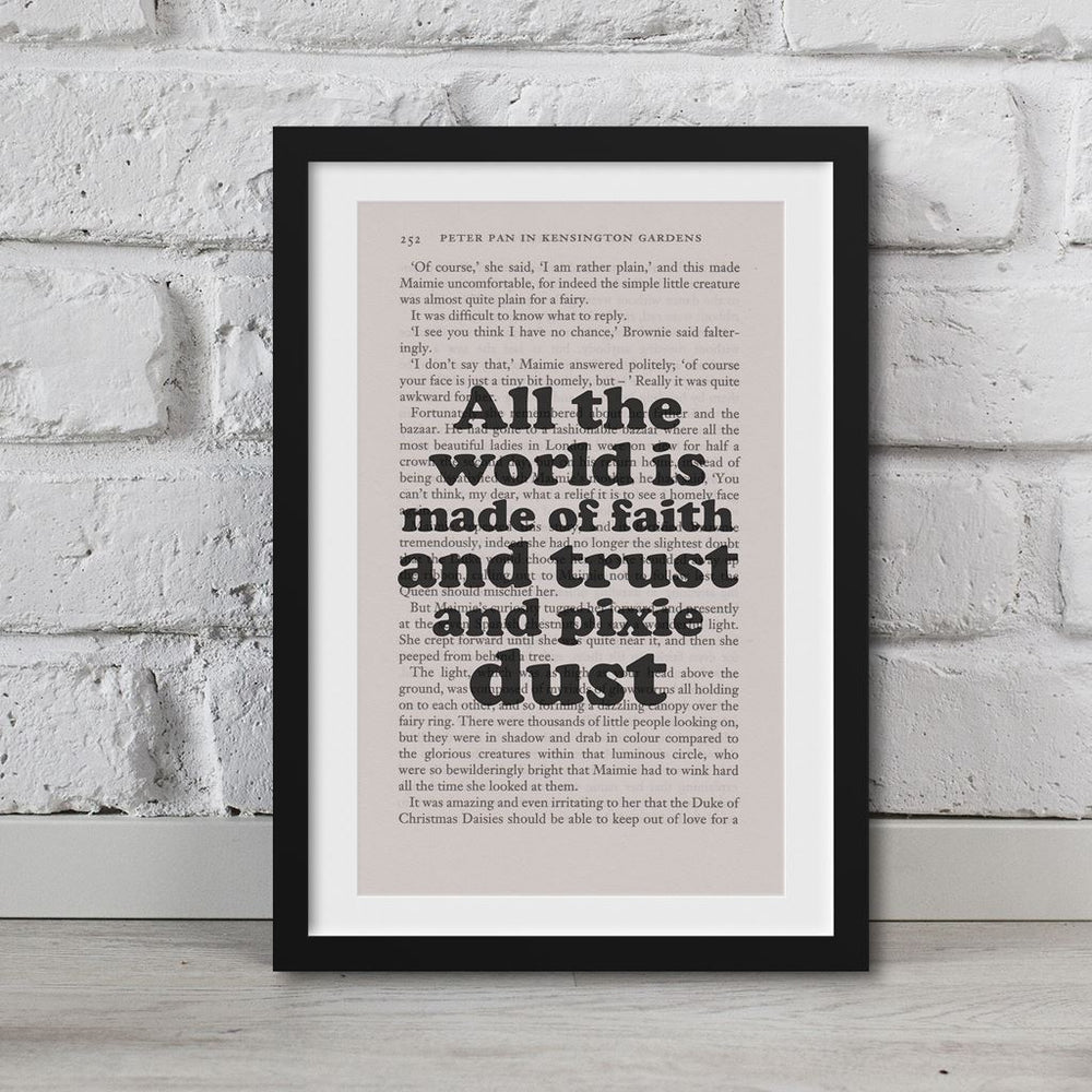 Peter Pan Book Page Art All The World Is Made Of Faith Print Quote