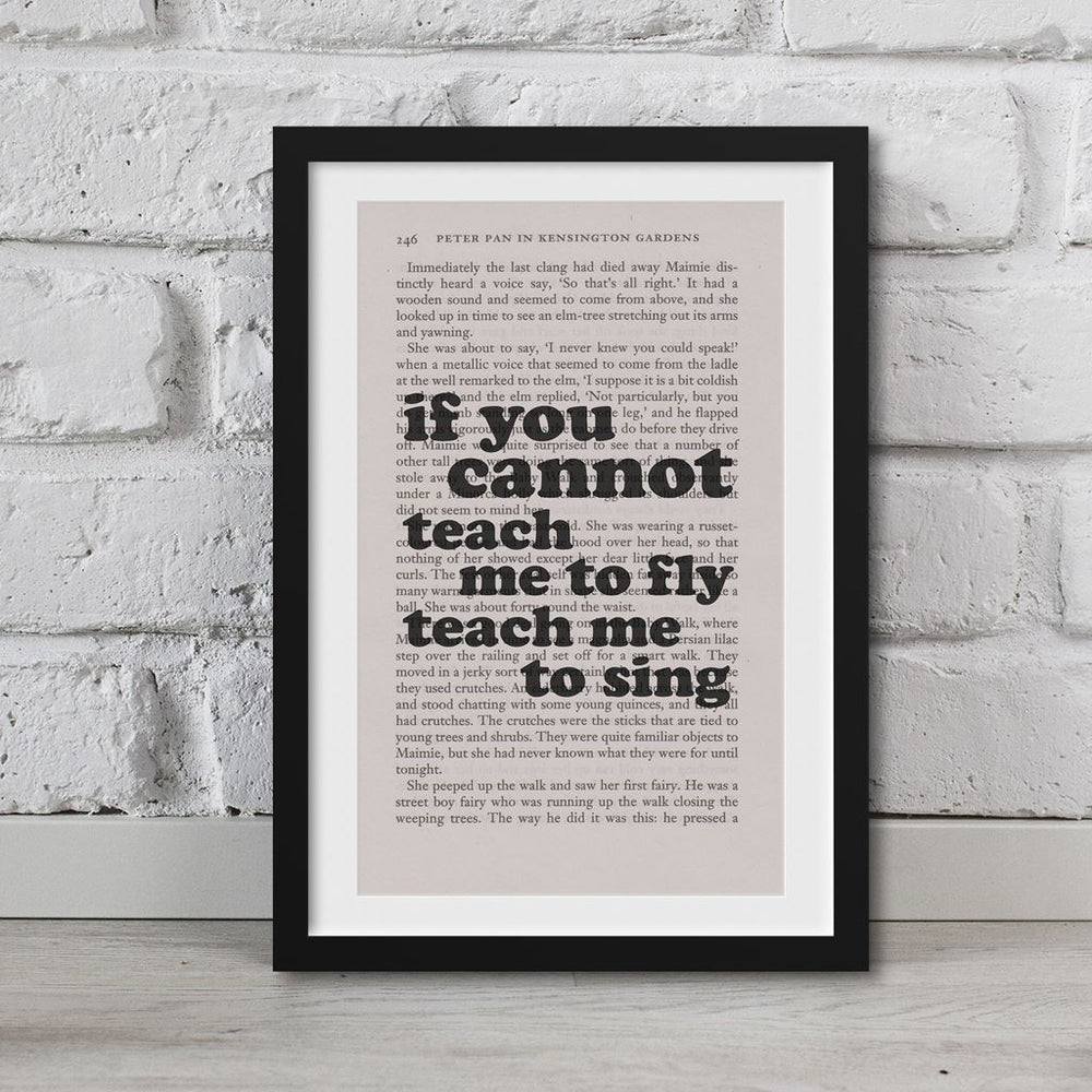 Peter Pan Book Page Art If You Cannot Teach Me To Fly Teach Me To Sing Print