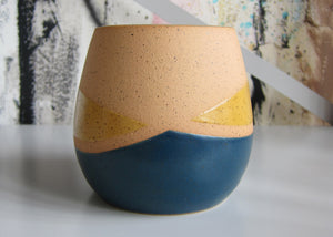 Whiskers Small Pots, Navy and Yellow