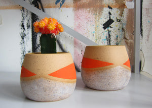 Whiskers Small Pots, Frosty and Dayglow Orange