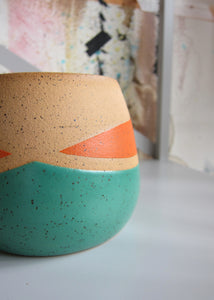 Whiskers Small Pots, Teal and Orange