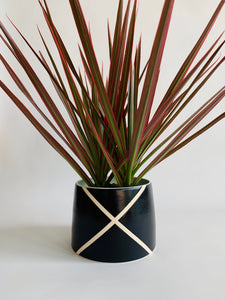 Argyle Black and White Planter