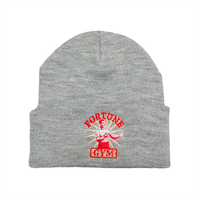 Grey Fortune Gym beanie with embroidered logo