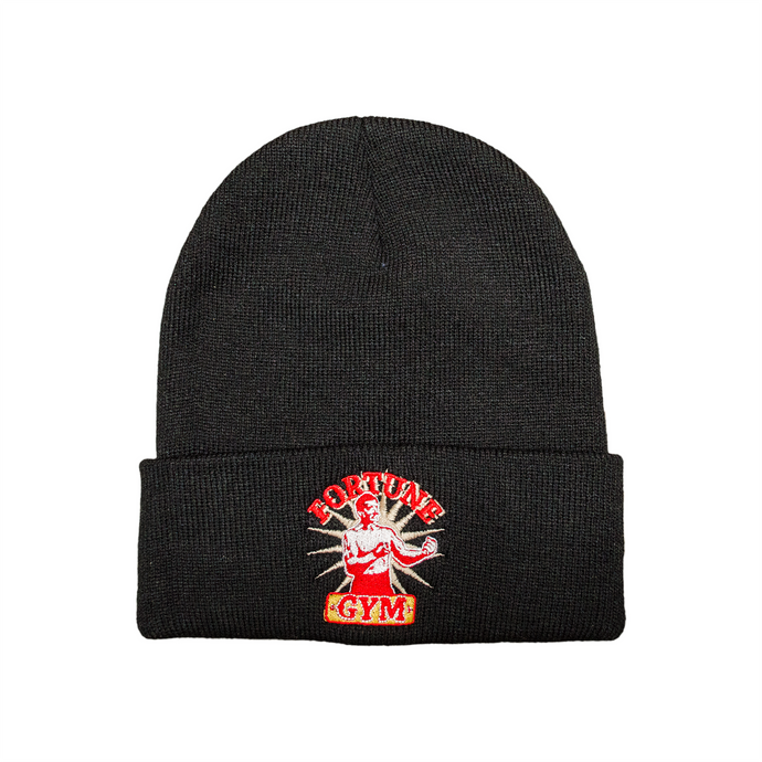 Black Fortune Gym beanie - embroidered logo