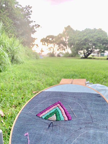 embroidering the heel while camping at Kipahulu