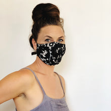 Load image into Gallery viewer, Fancy Face Mask- black lace and linen