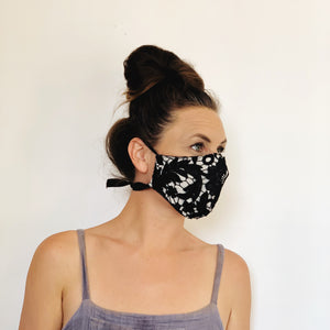 Fancy Face Mask- black lace and linen
