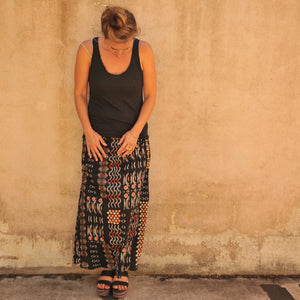 long skirt with back godet