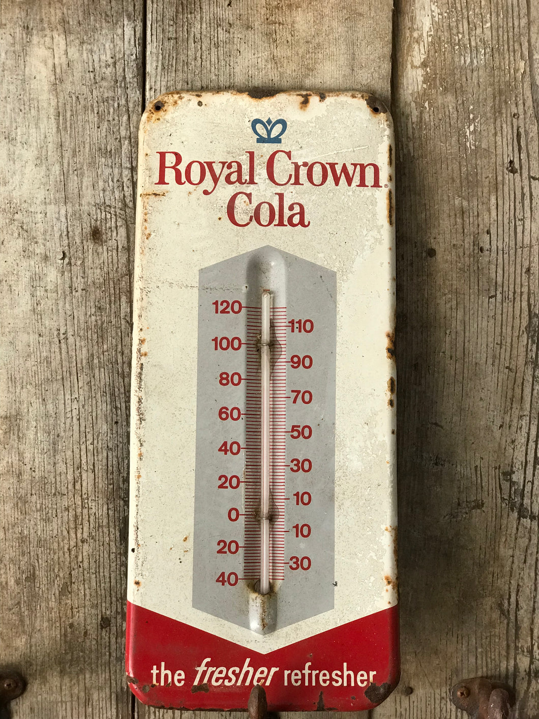 Royal Crown Cola tin advertising thermometer