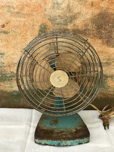 Vintage Green Metal Fan