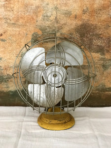 Vintage Yellow Metal Fan
