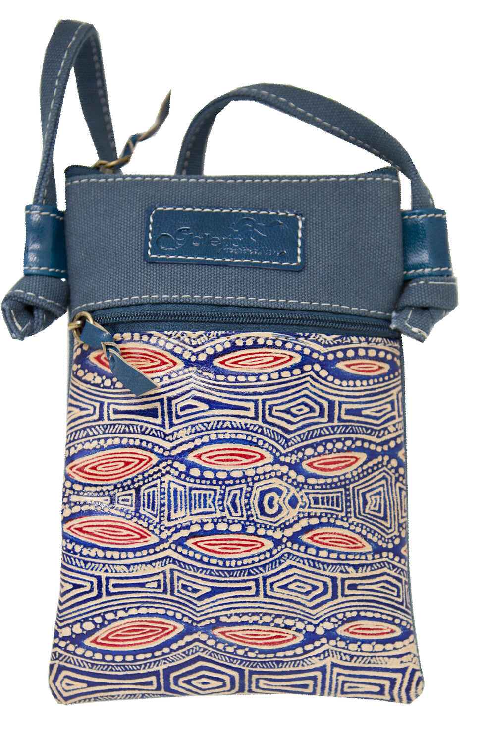 Australian indigenous Artist Billabong Kangaroo Yakinno Gunditjmara Dreaming Leather/Blue Canvas X Body Hippie Bag