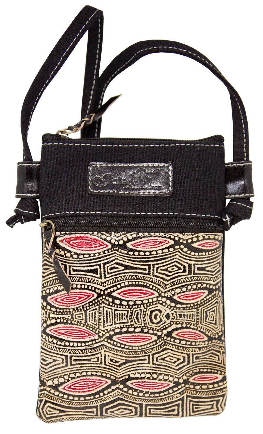 Australian indigenous Artist Yakinno Gunditjmara Dreaming Leather/Blue Canvas X Body Hippie Bag