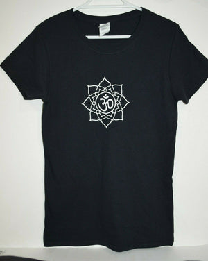 Aum Black cotton t-shirt ladies top shirt women's yoga Lotus OM Size 8 small