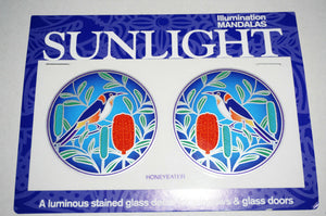 Sunlight Mandalas Sticker window Stained Glass Mirror door decal art BIRDS