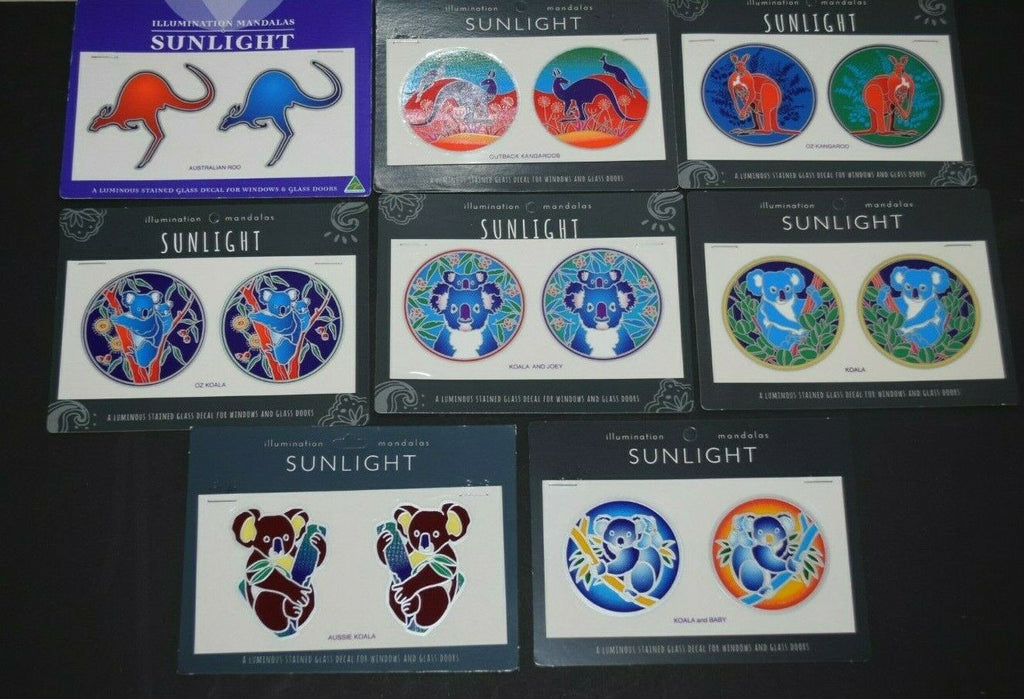 Sunlight Mandalas Sticker window Stained Glass Mirror door decal Kangaroo Koala