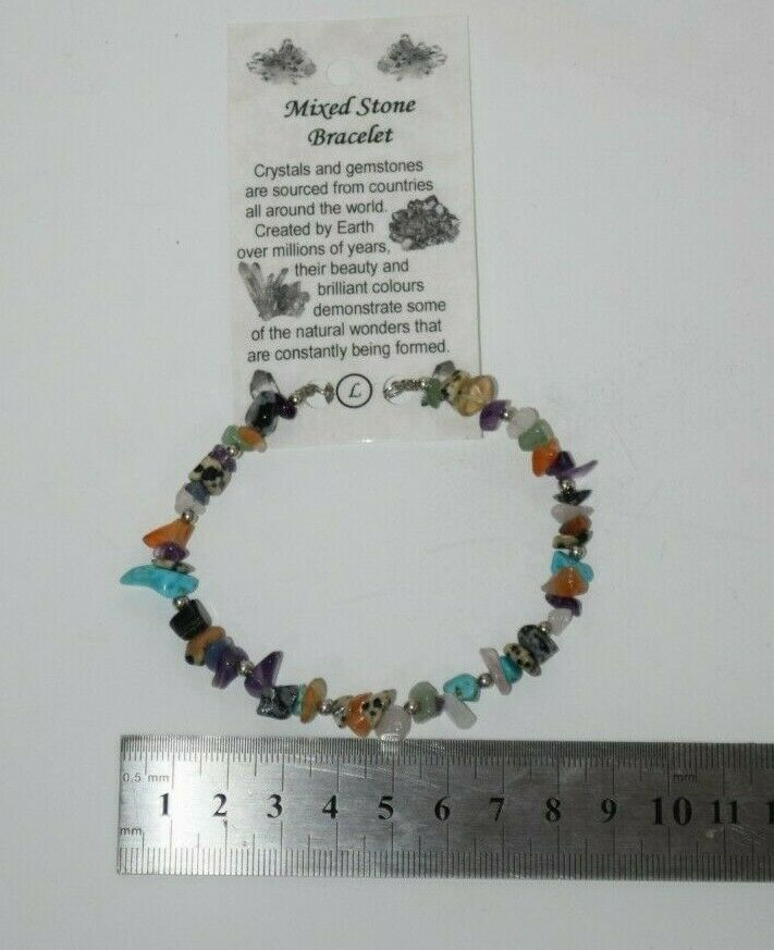 Gemstone Chip braclets braclet Healing chips wire clasp Large Size Adult size