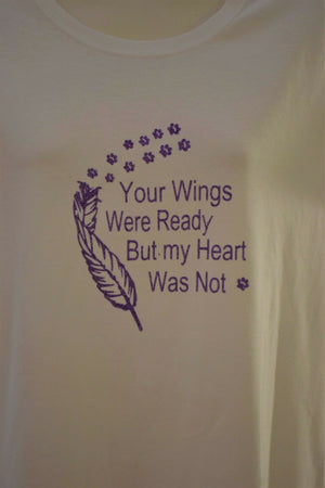 Your wings where ready my heart cotton t-shirt ladies top Med women's glitter