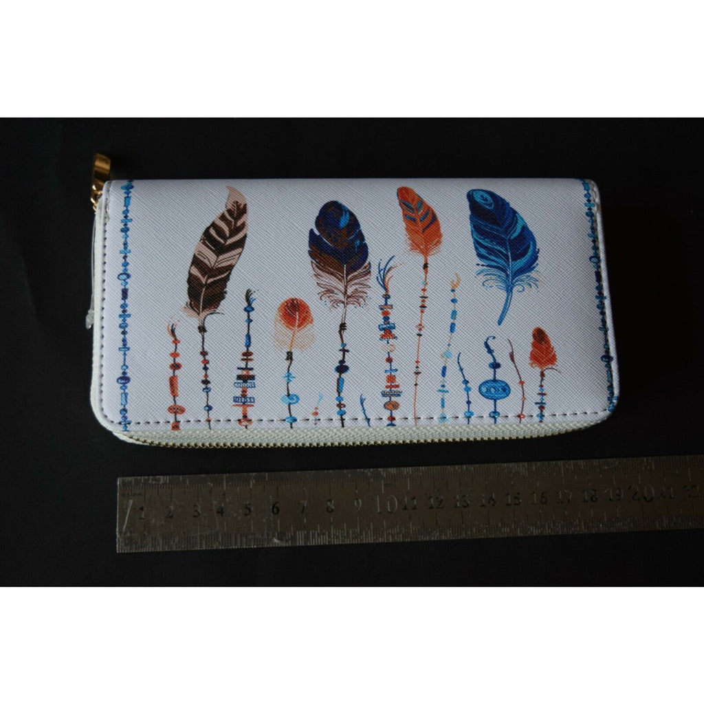 Feathers Purse Wallet bag coin Clutch Organizer money long design 19cm