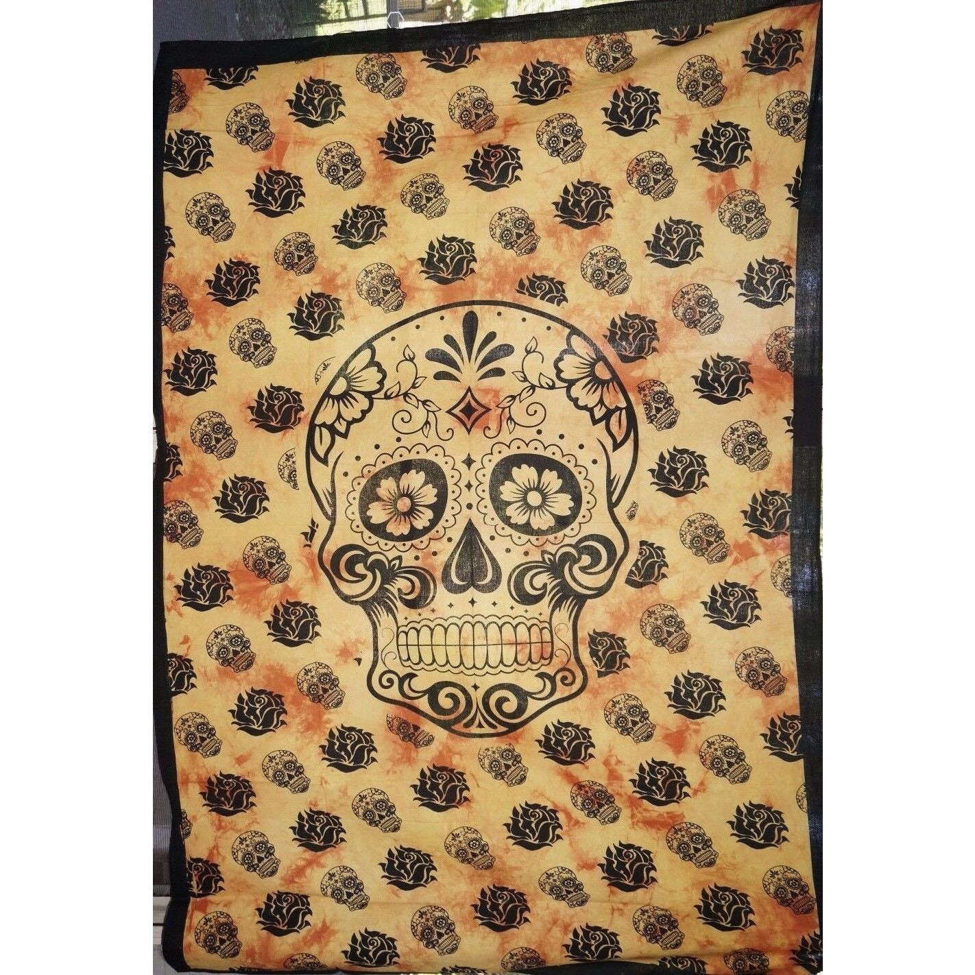 Throw Single Bed sheet cover wall hanging Table cloth Altar Art Candy skull Oran