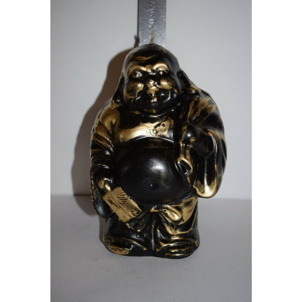 Buddha candle happy lucky zen handmade black gold 19cm tall gift yoga