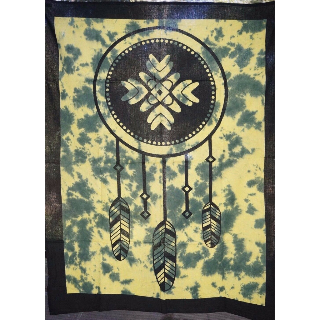 Wall art Throw Altar cloth poster cotton Feathers Mandala Dream catcher green